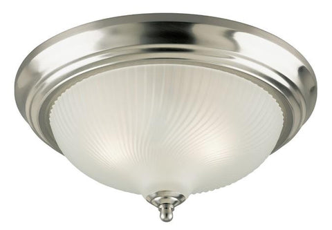 Two-Light Indoor Flush-Mount Ceiling Fixture, Brushed Nickel Finish with Frosted Swirl Glass