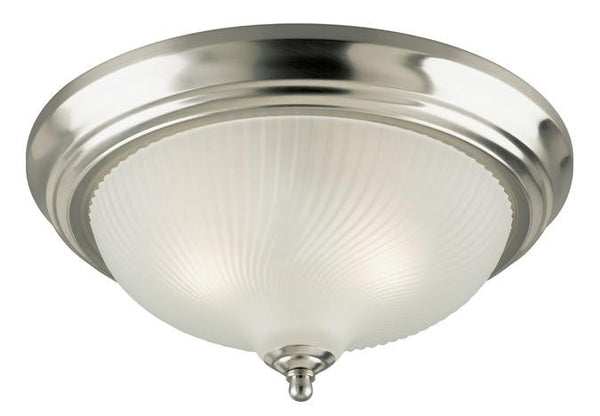 Three-Light Indoor Flush-Mount Ceiling Fixture, Brushed Nickel Finish with Frosted Swirl Glass - Lighting Getz