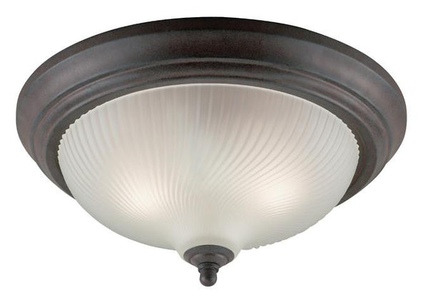 Three-Light Indoor Flush-Mount Ceiling Fixture, Sienna Finish with Frosted Swirl Glass - Lighting Getz