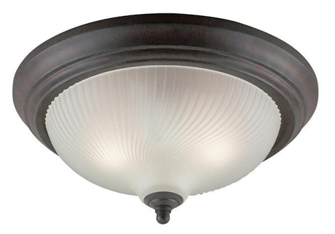 Three-Light Indoor Flush-Mount Ceiling Fixture, Sienna Finish with Frosted Swirl Glass