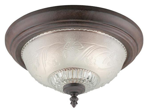 Two-Light Indoor Flush-Mount Ceiling Fixture, Sienna Finish with Embossed Floral and Leaf Design Glass