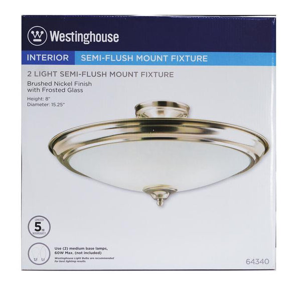 wo-Light Indoor Semi-Flush-Mount Ceiling Fixture, Brushed Nickel Finish with Frosted Glass - Lighting Getz