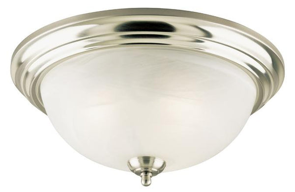 Three-Light Indoor Flush-Mount Ceiling Fixture, Brushed Nickel Finish with Frosted White Alabaster Glass - Lighting Getz