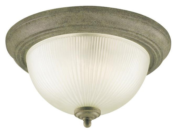 Two-Light Indoor Flush-Mount Ceiling Fixture, Cobblestone Finish with Frosted Ribbed Glass - Lighting Getz