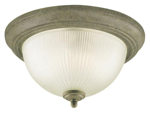 Two-Light Indoor Flush-Mount Ceiling Fixture, Cobblestone Finish with Frosted Ribbed Glass