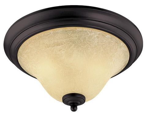 Elena Two-Light Indoor Ceiling Fixture, Dark Bronze Finish with Antique Amber Glass