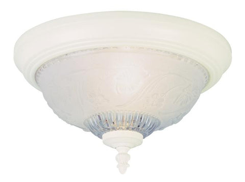 One-Light Indoor Flush-Mount Ceiling Fixture, Textured White Finish with Embossed Floral and Leaf Design Glass