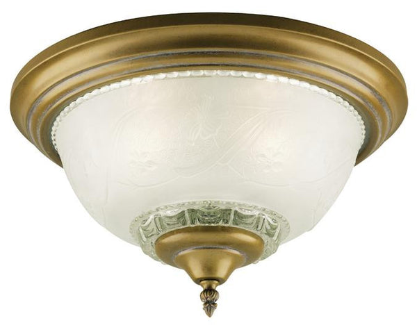 Three-Light Indoor Flush-Mount Ceiling Fixture, Cozumel Gold Finish with Frosted Embossed Floral and Leaf Design Glass - Lighting Getz