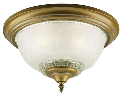 Three-Light Indoor Flush-Mount Ceiling Fixture, Cozumel Gold Finish with Frosted Embossed Floral and Leaf Design Glass