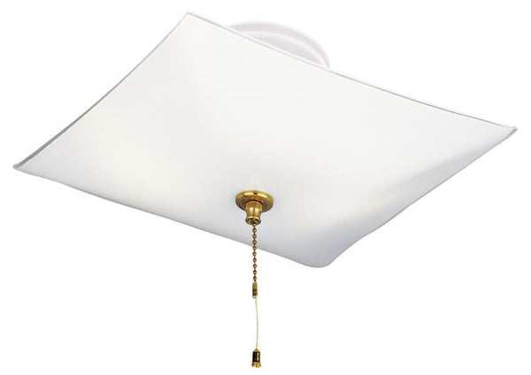 Two-Light Indoor Semi-Flush-Mount Ceiling Fixture, with Pull Chain White Finish with White Glass - Lighting Getz