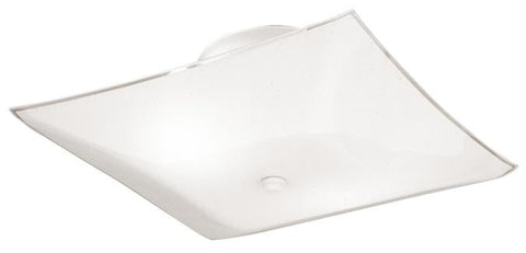 Two-Light Indoor Semi-Flush-Mount Ceiling Fixture, White Finish with White Glass