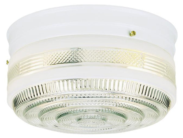 Two-Light Indoor Flush-Mount Ceiling Fixture, White Finish with White and Clear Glass - Lighting Getz