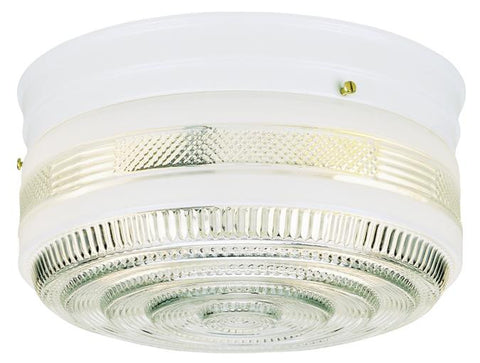 Two-Light Indoor Flush-Mount Ceiling Fixture, White Finish with White and Clear Glass