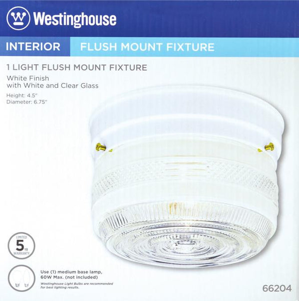 One-Light Indoor Flush-Mount Ceiling Fixture, White Finish with White and Clear Glass - Lighting Getz