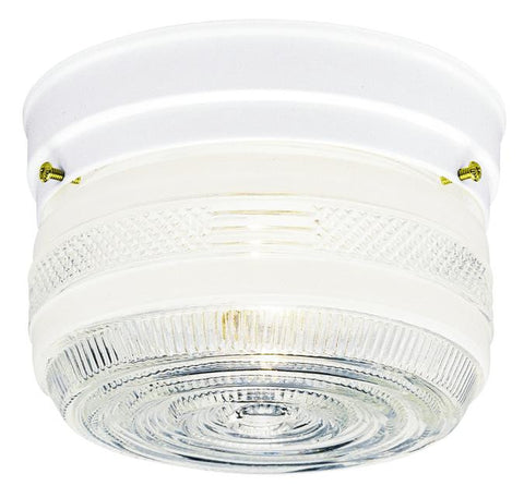 One-Light Indoor Flush-Mount Ceiling Fixture, White Finish with White and Clear Glass
