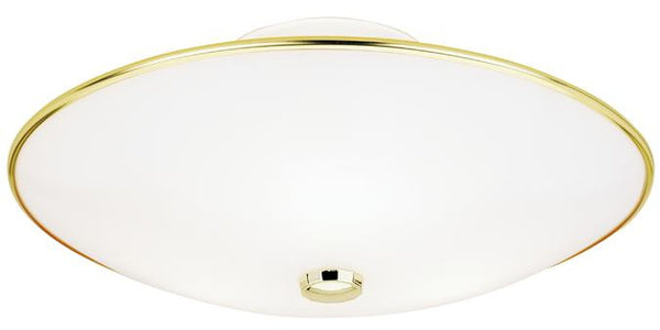Three-Light Indoor Semi-Flush-Mount Ceiling Fixture, Polished Brass Finish with White Glass - Lighting Getz