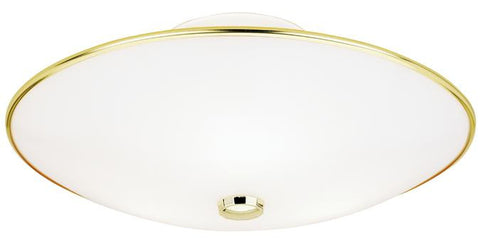 Three-Light Indoor Semi-Flush-Mount Ceiling Fixture, Polished Brass Finish with White Glass