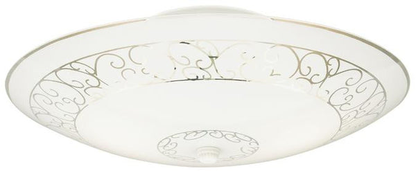Two-Light Indoor Semi-Flush-Mount Ceiling Fixture, White Finish with White Scroll Design Glass - Lighting Getz