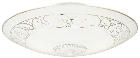 Two-Light Indoor Semi-Flush-Mount Ceiling Fixture, White Finish with White Scroll Design Glass