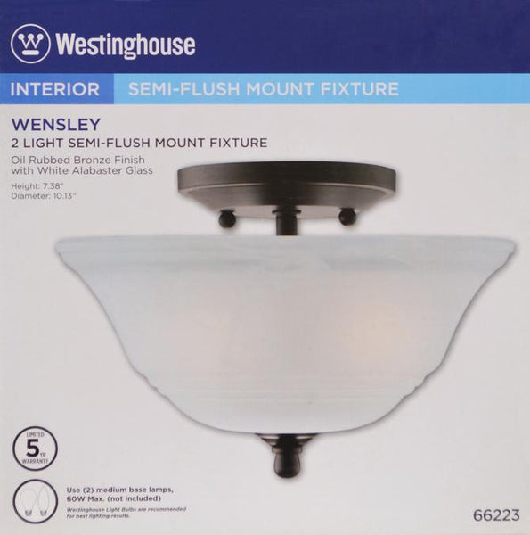 Wensley Two-Light Semi-Flush Ceiling Fixture, Oil Rubbed Bronze Finish with White Alabaster Glass - Lighting Getz