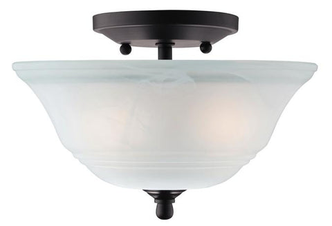 Wensley Two-Light Semi-Flush Ceiling Fixture, Oil Rubbed Bronze Finish with White Alabaster Glass