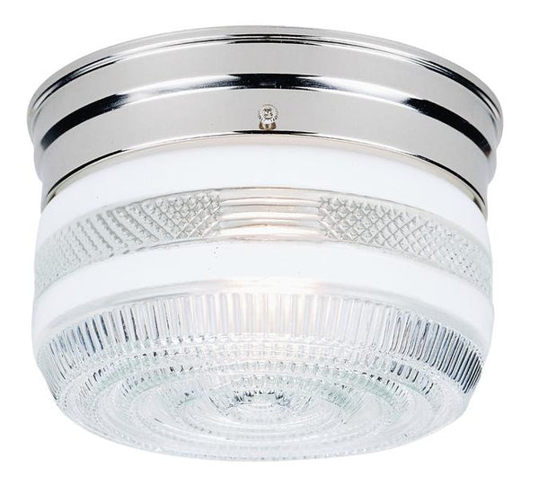 One-Light Indoor Flush-Mount Ceiling Fixture, Chrome Finish with White and Clear Glass - Lighting Getz