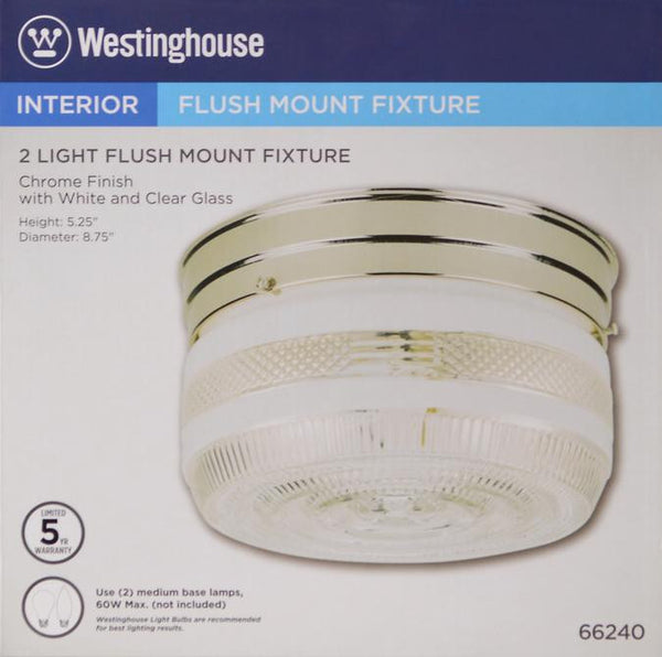 Two-Light Indoor Flush-Mount Ceiling Fixture, Chrome Finish with White and Clear Glass - Lighting Getz