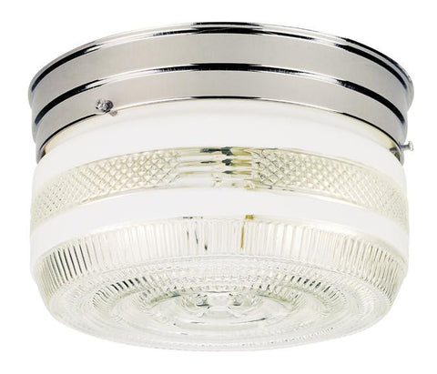 Two-Light Indoor Flush-Mount Ceiling Fixture, Chrome Finish with White and Clear Glass