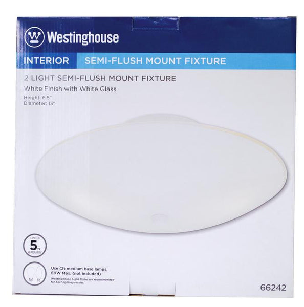 Two-Light Indoor Semi-Flush-Mount Ceiling Fixture, White Finish with White Glass - Lighting Getz