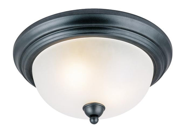 Two-Light Indoor Flush-Mount Ceiling Fixture, Iron Granite Finish with Frosted Glass - Lighting Getz