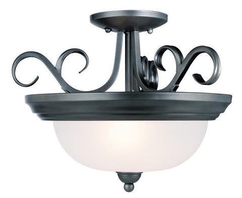 Two-Light Indoor Semi-Flush-Mount Ceiling Fixture, Iron Granite Finish with Frosted Glass