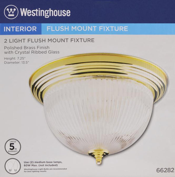 Two-Light Indoor Flush-Mount Ceiling Fixture, Polished Brass Finish with Crystal Ribbed Glass - Lighting Getz