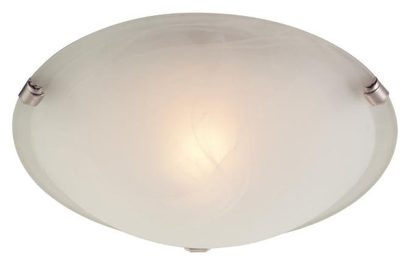 One-Light Indoor Ceiling Fixture, White and Brushed Nickel Finish with White Alabaster Glass - Lighting Getz