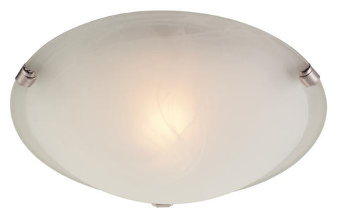 One-Light Indoor Ceiling Fixture, White and Brushed Nickel Finish with White Alabaster Glass