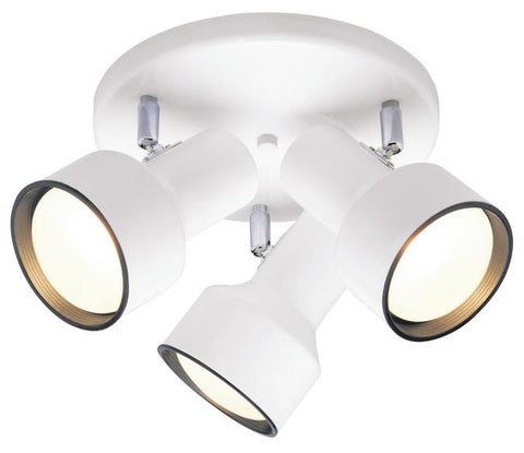 Three-Light Indoor Multi-Directional Flush-Mount Ceiling Fixture, White Finish