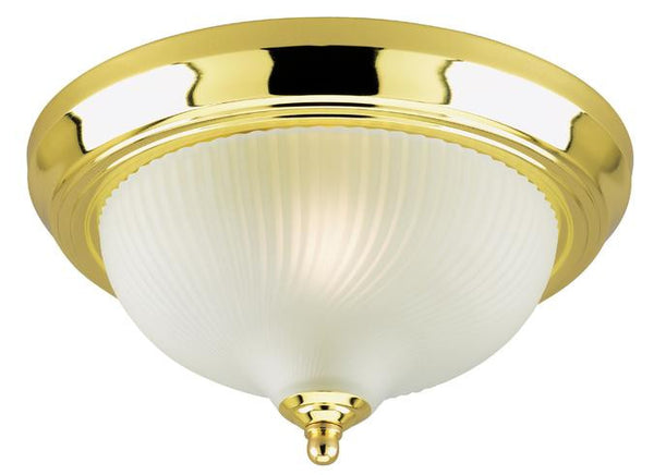 One-Light Indoor Flush-Mount Ceiling Fixture, Polished Brass Finish with Frosted Swirl Glass - Lighting Getz
