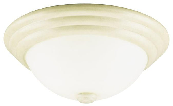 Two-Light Indoor Flush-Mount Ceiling Fixture, Bisque Leaf Finish with Faux Marbleized Glass - Lighting Getz
