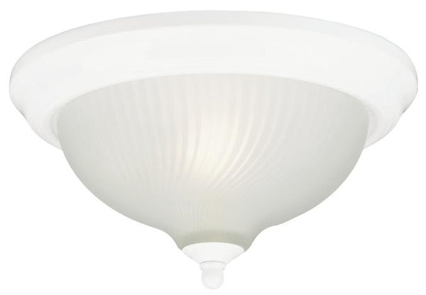 One-Light Indoor Flush-Mount Ceiling Fixture, White Finish with Frosted Swirl Glass - Lighting Getz