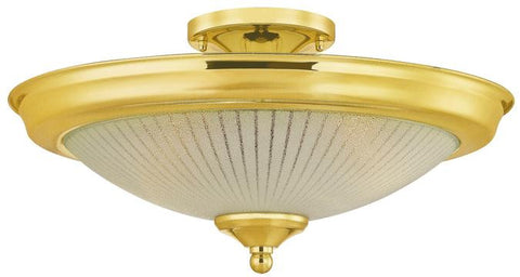 Two-Light Indoor Semi-Flush-Mount Ceiling Fixture, Polished Brass Finish with White and Clear Glass
