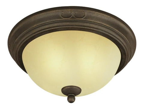 Two-Light Indoor Flush-Mount Ceiling Fixture, Ebony Bronze Finish with Aged Alabaster Glass