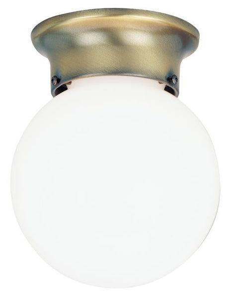 One-Light Indoor Flush-Mount Ceiling Fixture, Antique Brass Finish with White Glass Globe - Lighting Getz