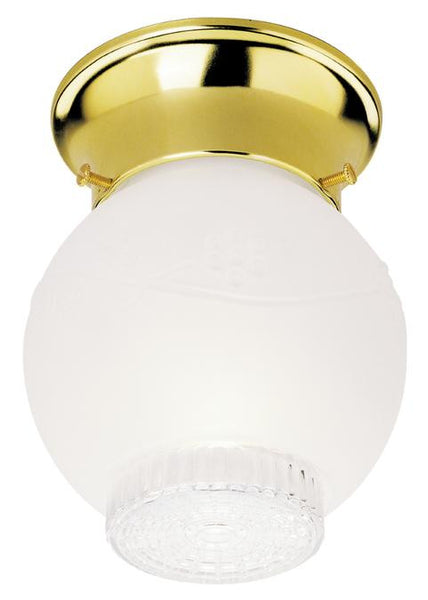 One-Light Indoor Flush-Mount Ceiling Fixture, Polished Brass Finish with Frosted and Clear Glass - Lighting Getz