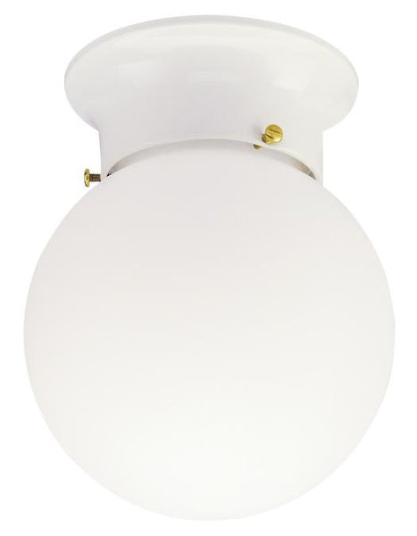 One-Light Indoor Flush-Mount Ceiling Fixture, White Finish with White Glass Globe - Lighting Getz