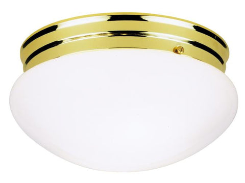 Two-Light Indoor Flush-Mount Ceiling Fixture, Polished Brass Finish with White Glass