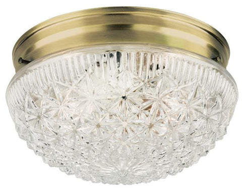 Two-Light Indoor Flush-Mount Ceiling Fixture, Antique Brass Finish with Clear Faceted Glass