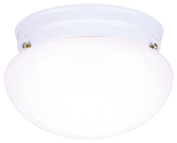 Two-Light Indoor Flush-Mount Ceiling Fixture, White Finish with White Glass - Lighting Getz