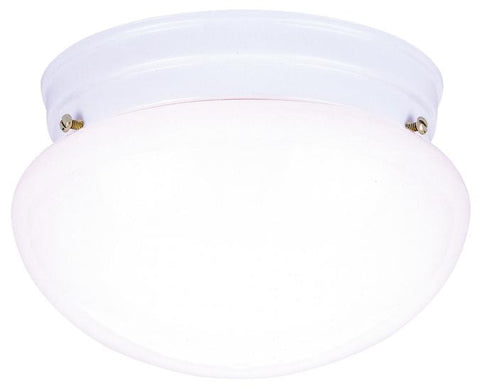 Two-Light Indoor Flush-Mount Ceiling Fixture, White Finish with White Glass