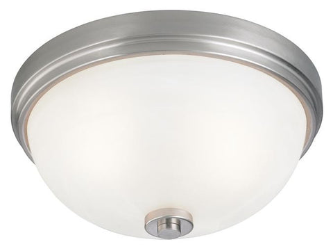 Two-Light Indoor Flush-Mount Ceiling Fixture, Brushed Nickel Finish with Frosted White Alabaster Glass