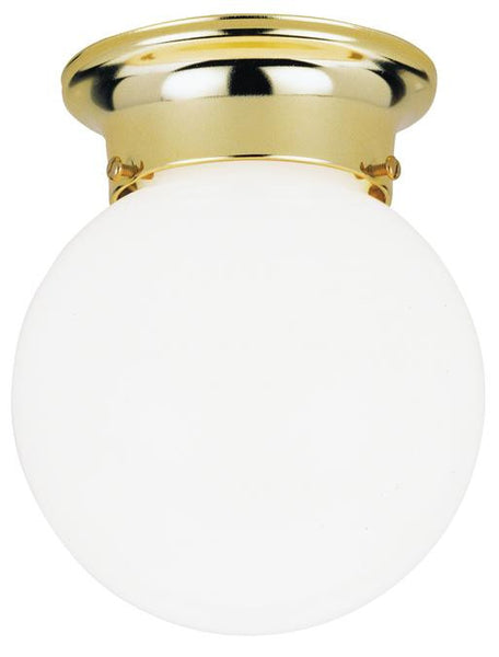 One-Light Indoor Flush-Mount Ceiling Fixture, Polished Brass Finish with White Glass Globe - Lighting Getz
