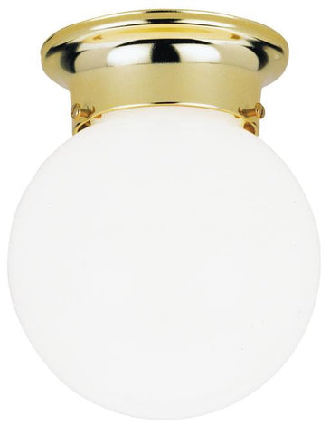 One-Light Indoor Flush-Mount Ceiling Fixture, Polished Brass Finish with White Glass Globe